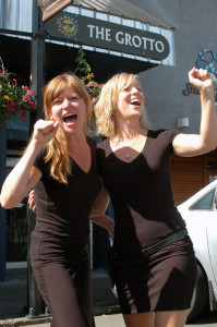 Fannie Blanchet and Katie Cummings, of Union Street Grill & Grotto, belt out their favourite tune. If you do the same, you could win MusicFest weekend passes.