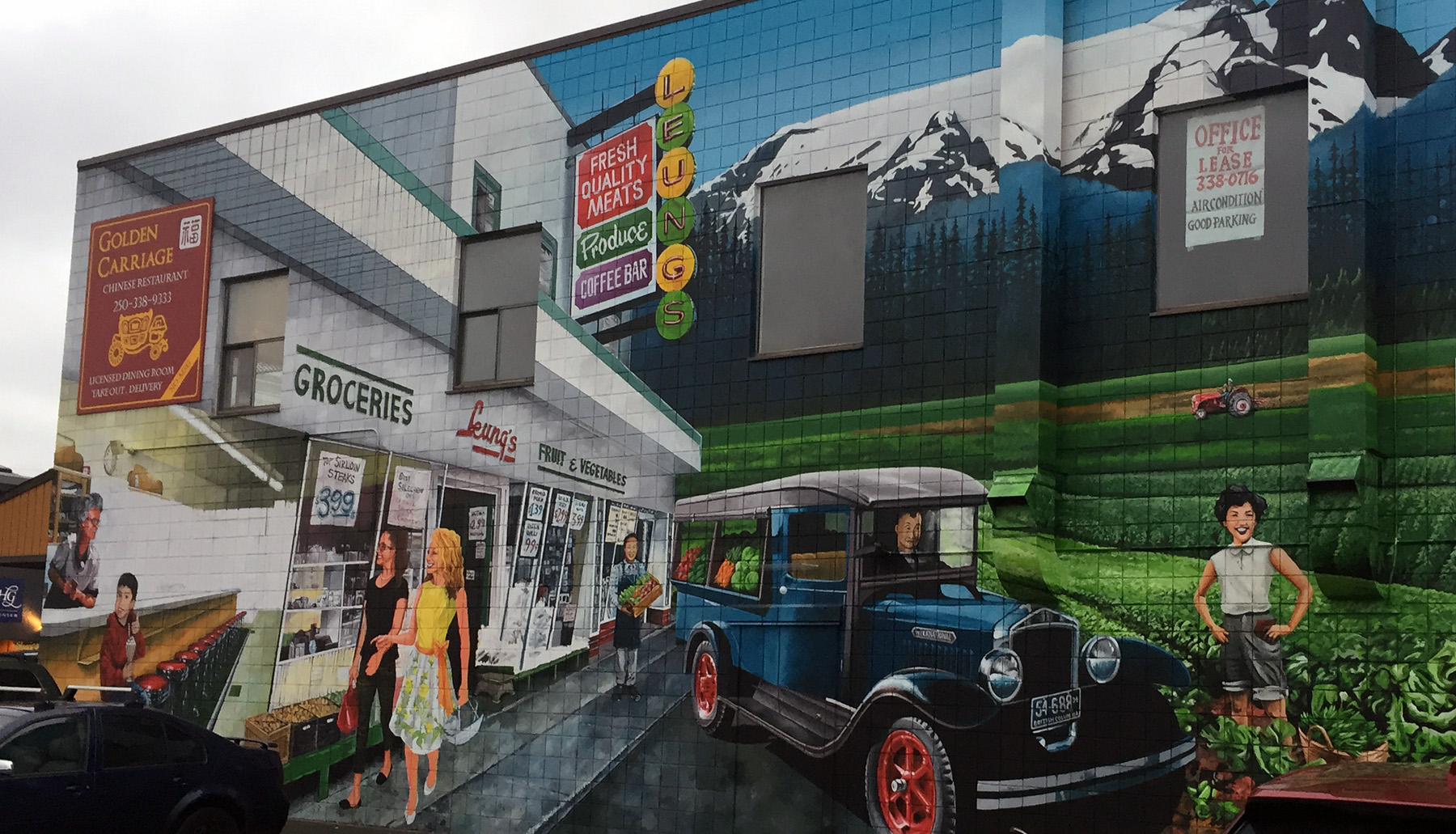 Longtime Comox Valley Businessman Norm Leung Greets Passers-by Alongside Current Downtown Personalities In A New Heritage Mural That's Almost Complete In Downtown Courtenay.