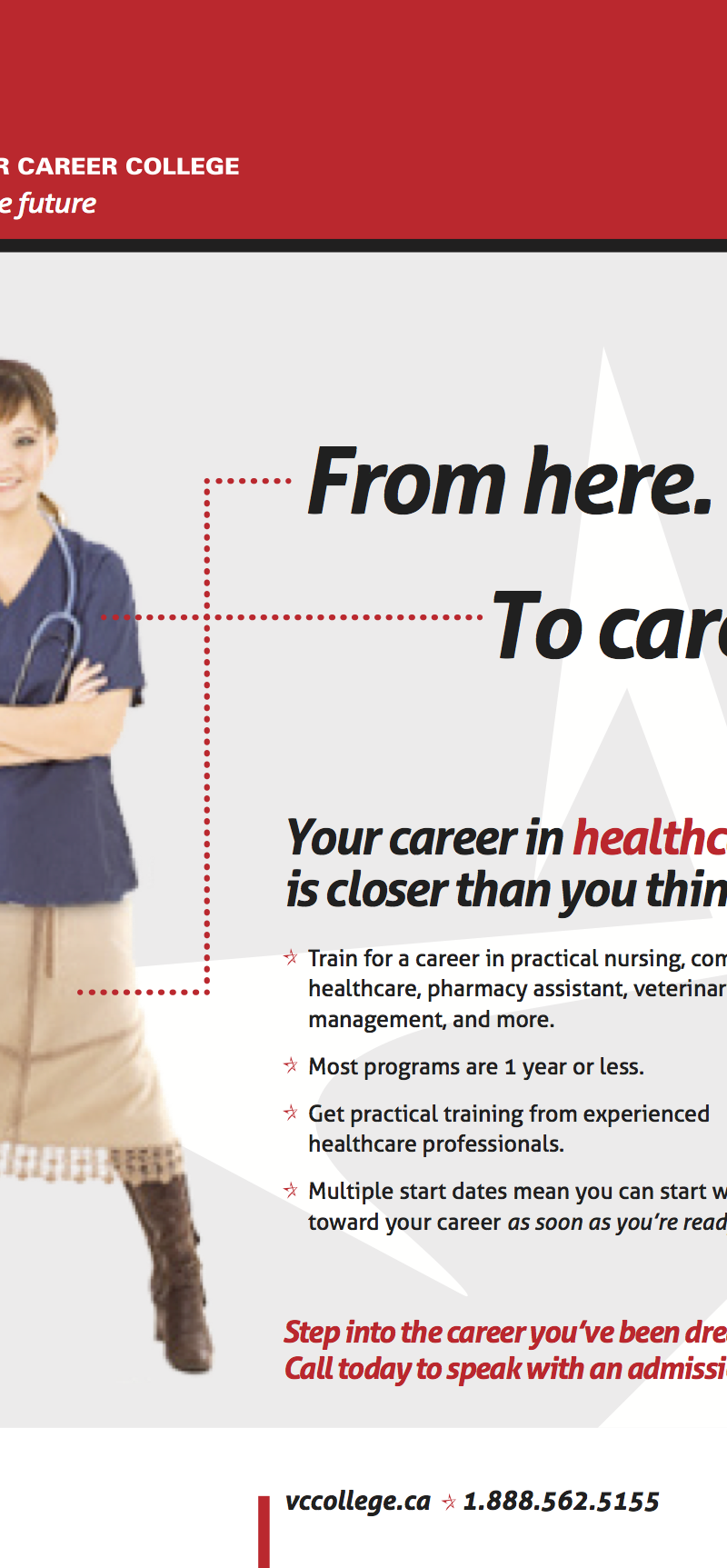 "Ad copy: VCC ""From Here to Career"""