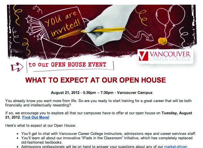 Email: Vancouver Career College Open House